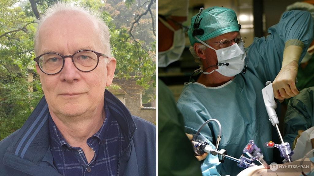 Man med blå jacka bredvid en bild från operationssal