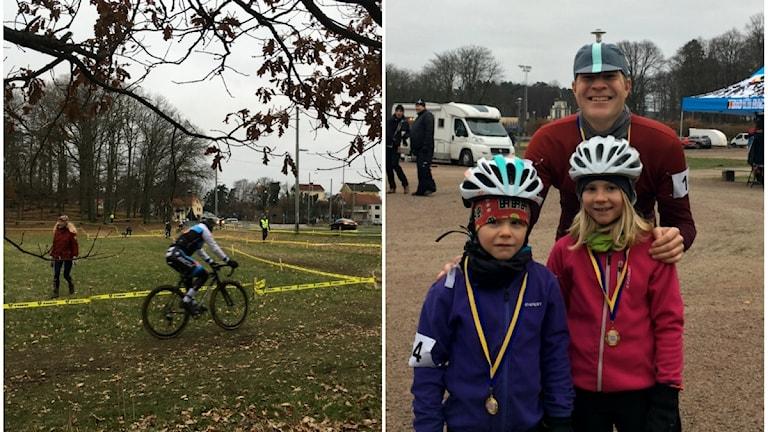 Charles, Iris och pappa Mats Landervik testade banan vid SM i cykelcross.