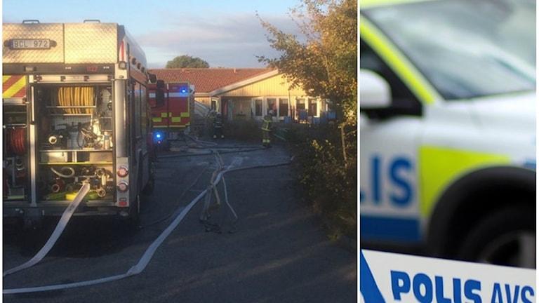 Förskolan i Lerkil med en brandbil framför entrén.