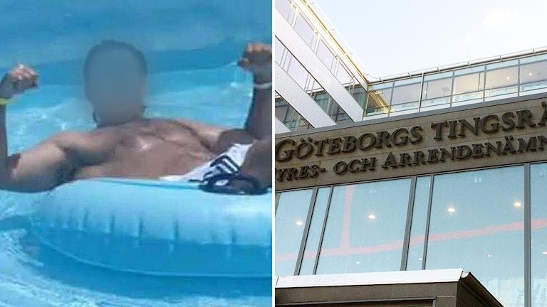 En man badar i en pool. Hans ansikte är blurrat. Till höger syns Göteborgs tingsrätt.