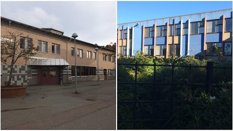 Två bilder sida vid sida. Den vänstra föreställer Lövgärdesskolans entre och den högra är en bild på Hjällboskolans fasad.