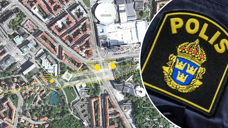 En karta över västlänkenbygget. Till höger syns ett polisemblem infällt.