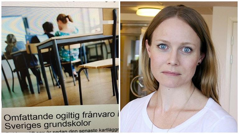 Två bilder syns samtidigt. Den vänstra är en skärmdump på elever som sitter vid skolbänkar, längst ned står rubriken: Omfattande ogiltlig frånvaro i Sveriges grundskolor. Den högra bilden föreställer en kvinna forograferad rakt framifrån. Hon har en vit tröja på sig och tittar rakt in i kameran