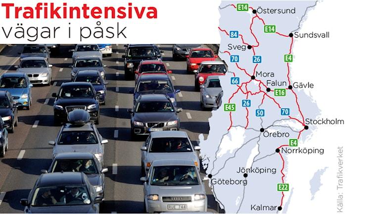 Trafik och karta med olika vägar markerade