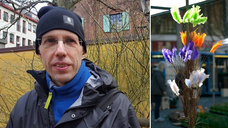 En tvådelad bild där Erik Brimse står på en innegård på den vänstra och på den högra en knippe ris pyntad med färgglada fjädrar.