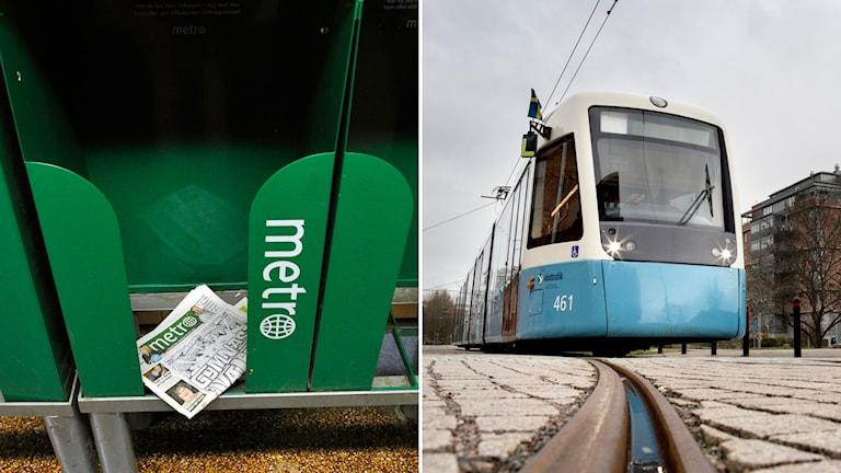 Tidningen Metro och en spårvagn från Västtrafik.