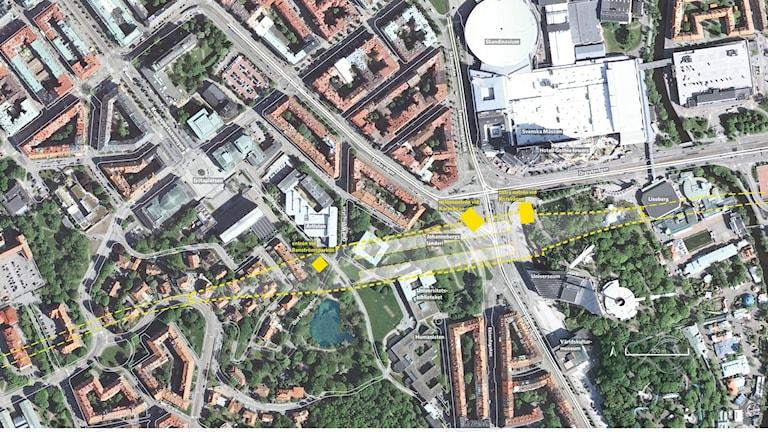 Flygfoto över området kring station Korsvägen.
