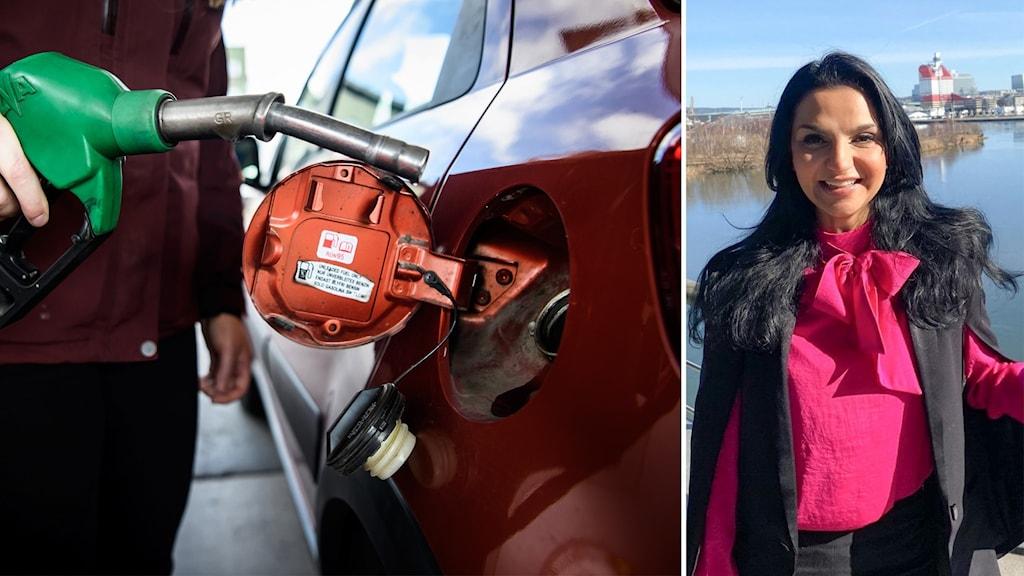 man tankar bil med bensin