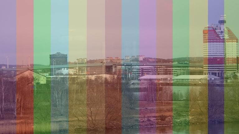 En bild över Göteborg med läppstiftet och en mängd olika färger.
