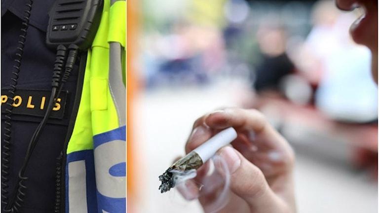 polis, en person som röker