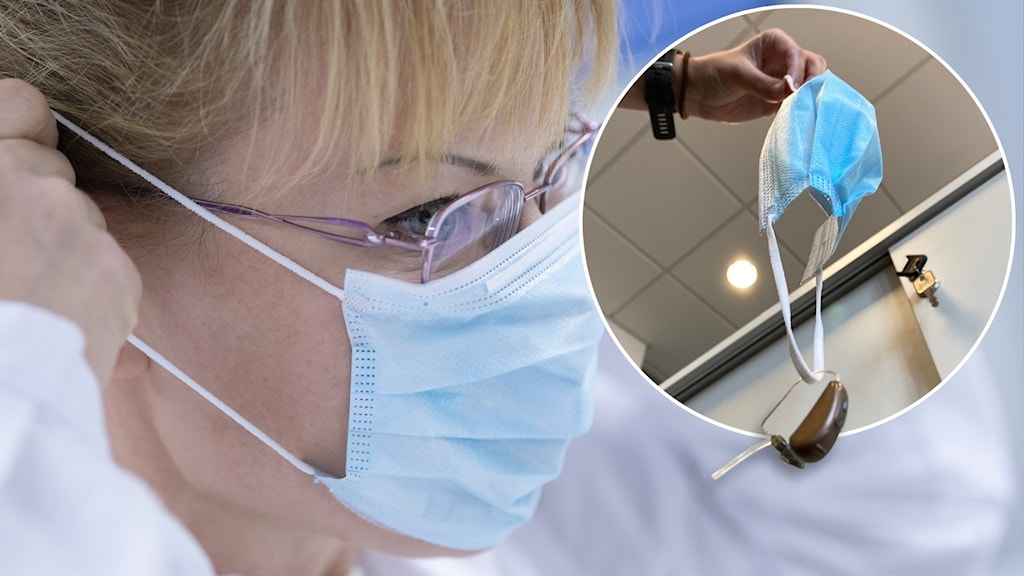 En kvinna med munskydd. Till höger en hörapparat som fastnat i ett munskydd.