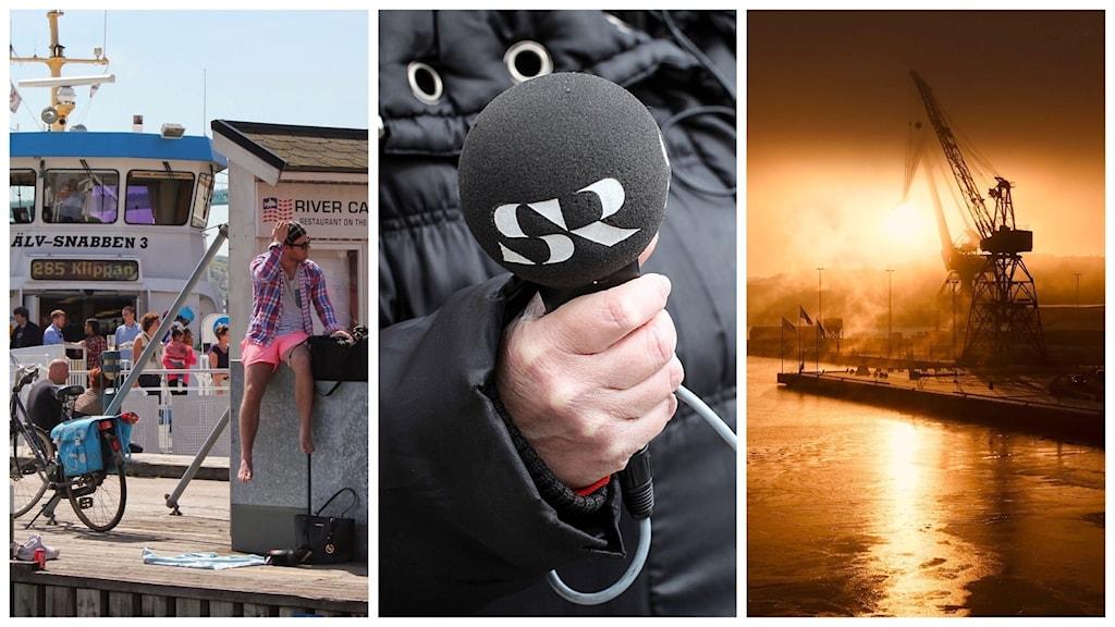 Passagerare vid en färja, en radiomikrofon och kranar i Göteborgs hamn.