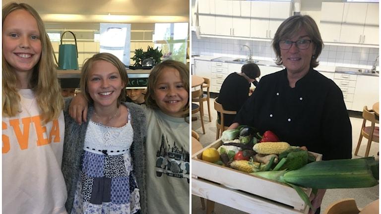 Elever på Johannebergskolan. Eva Li Bäckman Engström, Lilly Young Show och Set Anton Lindström. Till höger köksmästare Gunilla Williander.