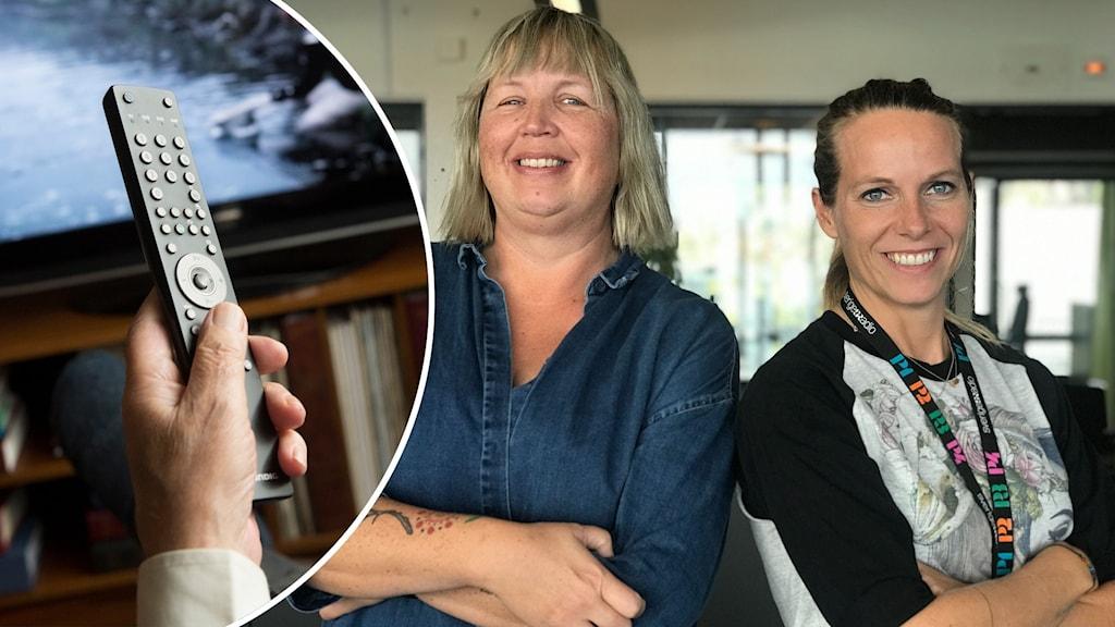 Två kvinnor bredvid en fjärrkontroll