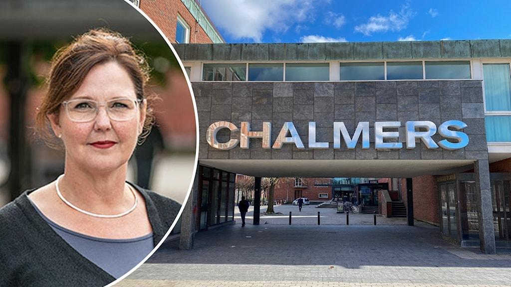 kvinna med glasögon och entrén till Chalmers i Göteborg