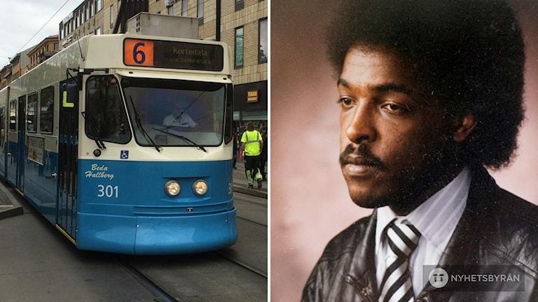 En spårvagn. Till höger en bild på Dawit Isaak.
