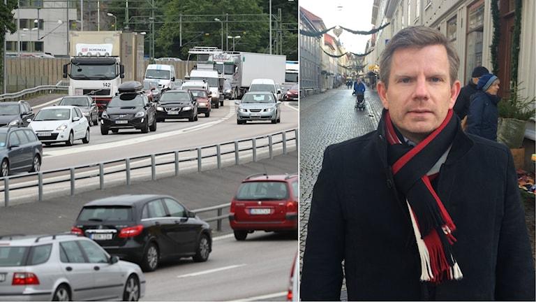 Trafiken i Göteborg och man vid haga nygata