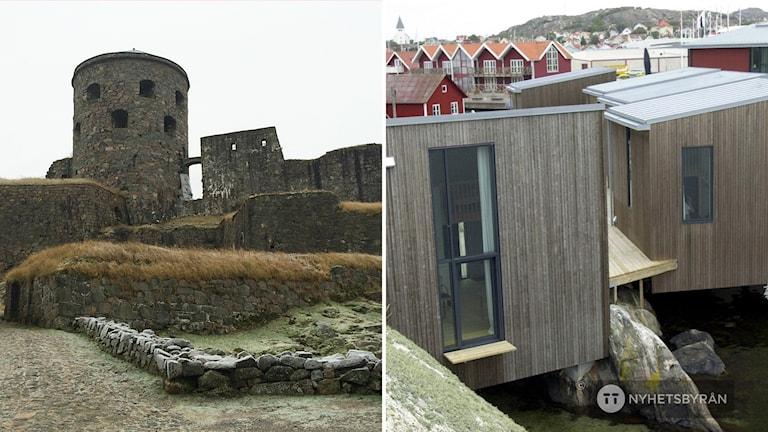 Bohusfästning till vänster och Akvarellmuseet på Tjörn till höger.