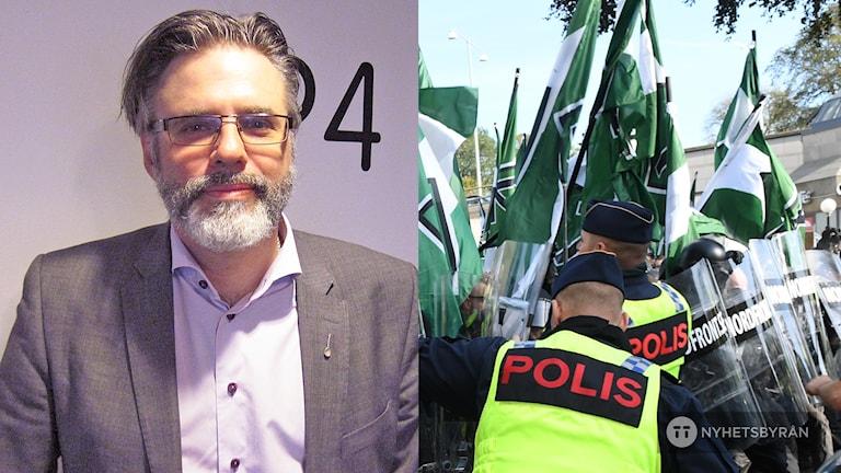 Tvådelad bild: Till vänster Christer Mattsson. Till höger NMR-demonstrerar i Göteborg och hålls tillbaka av poliser.