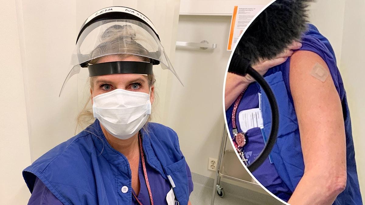 Sjusköterska i blå tröja och visir.