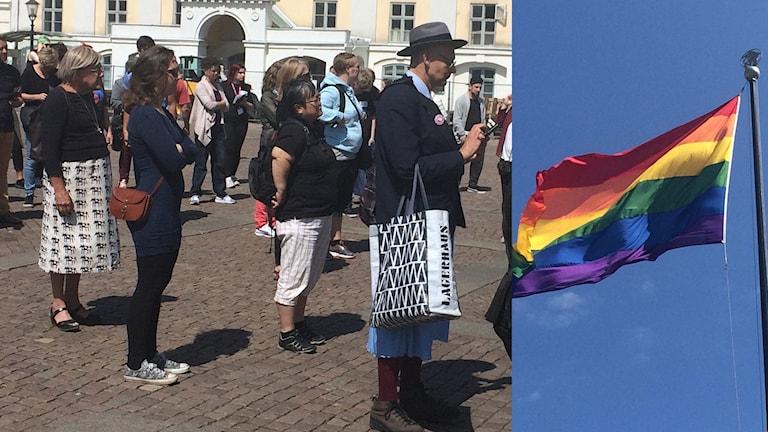 bild på människor som står på ett torg samt en regnbågsflagga, collage
