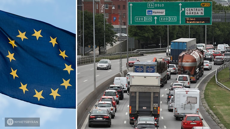 En EU-flagga och en bild på bilköer på E6.