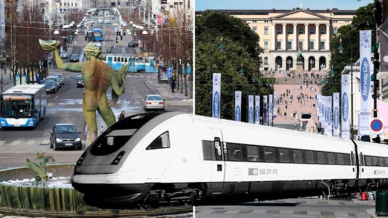 Montage av Göteborg, Oslo och ett tåg