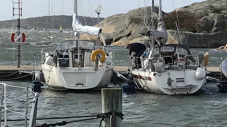 Man förtöjer sin båt