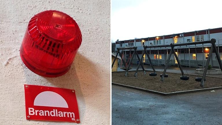 Tvådelad bild: Till vänster ett brandlarm. Till höger en skola.