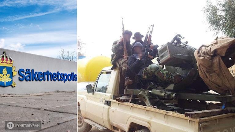Säpos skylt och till höger IS-krigare med vapen.