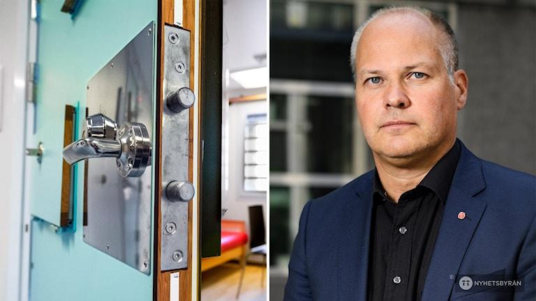 Tvådelad bild: Till vänster syns dörren på glänt in till ett rum på häkte. Till höger en man i blå kavaj och svart skjorta.