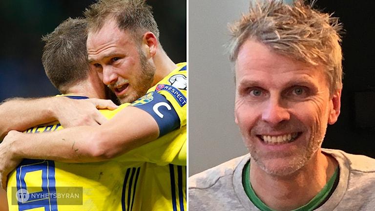 Två fotbollsspelare kramas. Till höger bild på Christian Olsson.