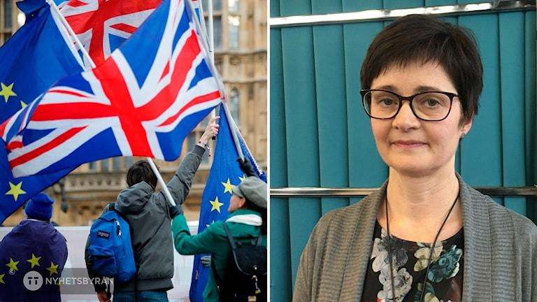 Tvådelad bild: En kvinna och flaggor.