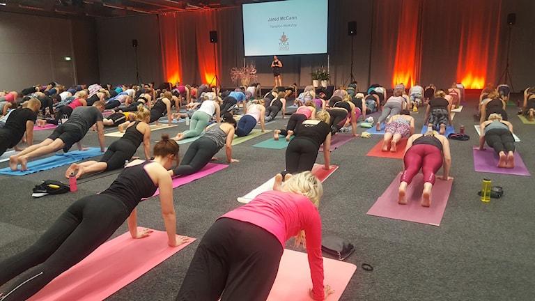 Människor tränar yoga