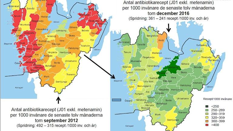 Karta över antalet antibiotikarecept per 1000 invånare och år 2012 och 2016 i Västra Götaland.