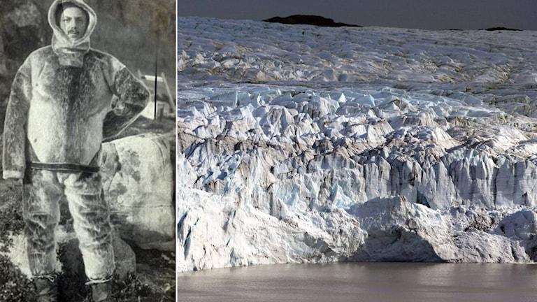 En man klädd i djurskinn på Grönland ca år 1917. Till höger nytagen bild från Grönland.