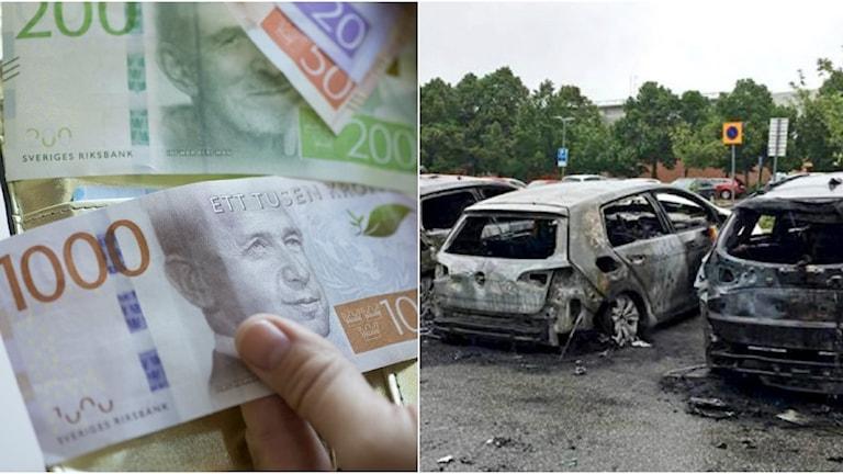 Sedlar och utbrända bilar
