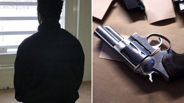 En bild på en man och en bild på en pistol