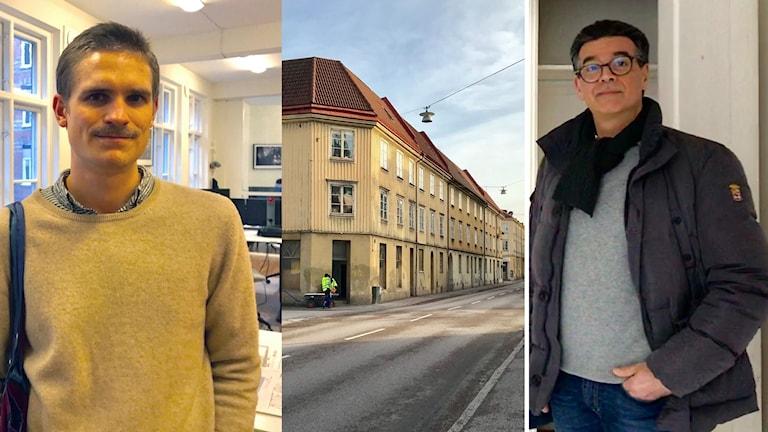 Tre bilder bredvid varandra. Till vänster en man i 30-årsåldern med mustasch står framför fönster och en tavla. I mitten en gul träbyggnad med orange tegeltak längs med en gata. Till höger en Medelåldersman med glasögon framför vita dörrar i en lägenhet.