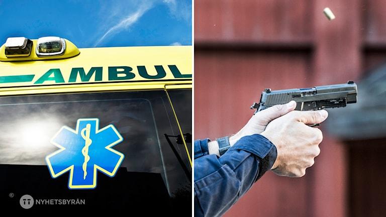 Tvådelad bild: Detalj av ambulans. Till höger en pOLIS SKJUTER MED PISTOL.