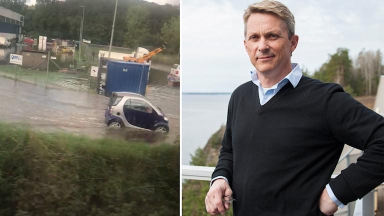 Liten bil kör i mycket vatten på väg / Porträttbild Bengt Olsson, presschef på Trafikverket.
