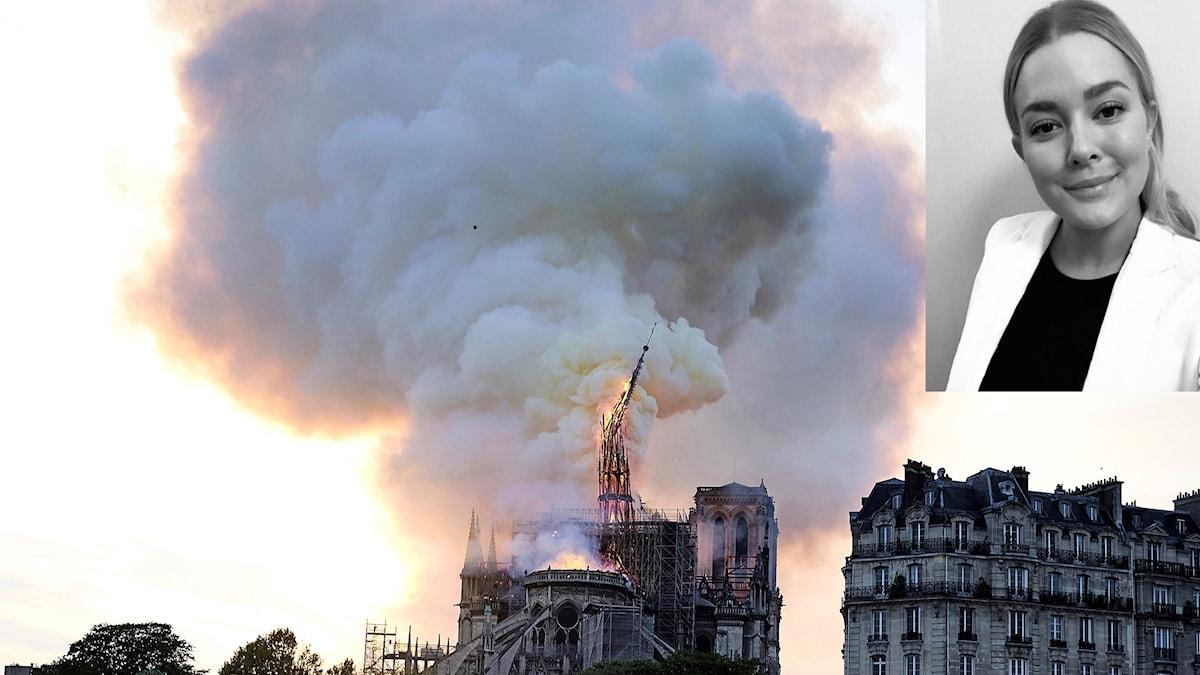 En infälld bild på en kvinna i en bild från Paris där det brinner i Notre Dame.