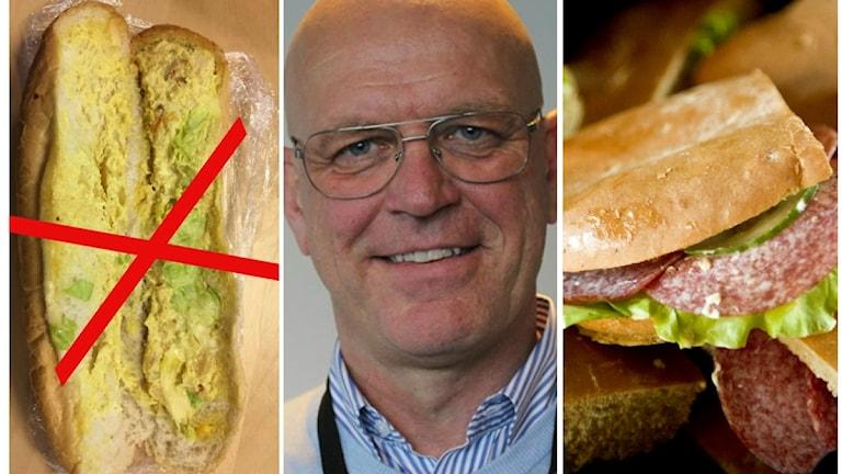 Kritiserad kycklingbaguette, Erik Nord och en salamibaguette