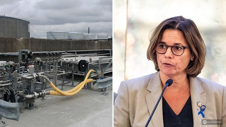 tvådelad: Gasanläggninh. Till höger Isabella Lövin i en talarstol.