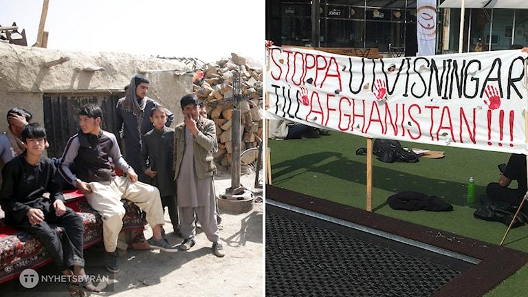 """En bild på pojkar och unga män i kabul. Till höger en banderoll med texten """"Stoppa utvisningar till Afghanistan""""."""