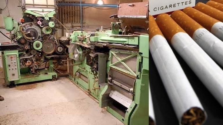 cigaretter och en stor maskin där dom illegala cigaretterna tillverkats