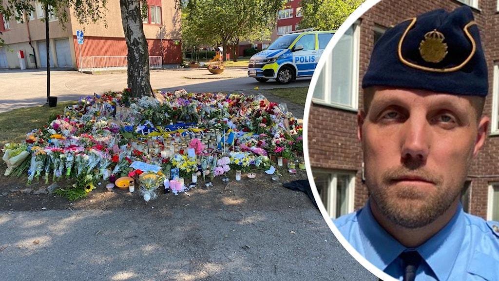Delad bild, till vänster blommor lagda på en minnesplats runt ett träd. till vänster en man med sammanbitet ansikte i polisuniform.
