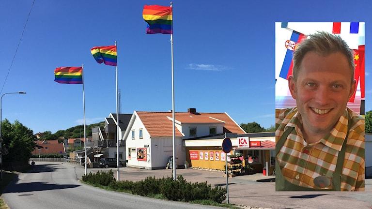 Bild på regnbågsflaggan som vajar utanför icabutik. Infälld bild Erik Almhöjd.