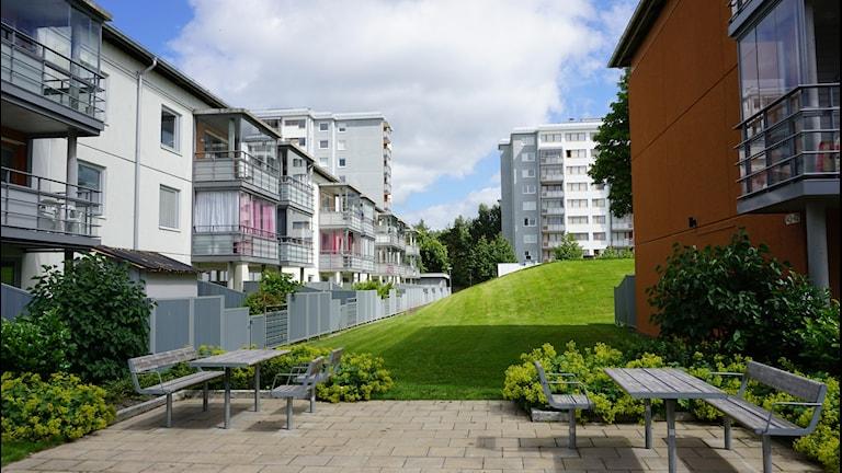 En bild på lägenhetshus i Angered