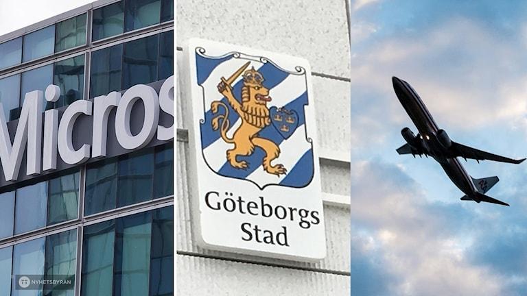 Microsofts bygnnad, Göteborgs stadsvapen och ett flygplan i skyn.